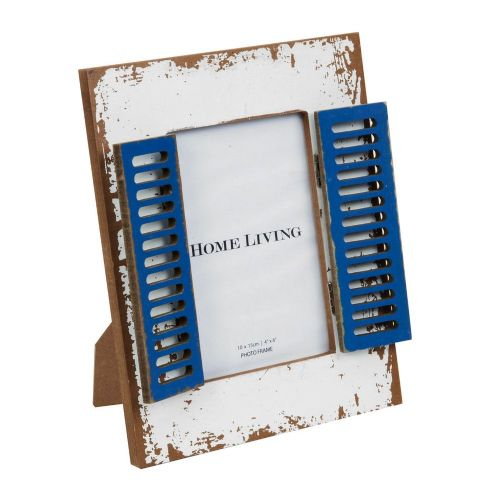 Rustic  White Wooden Photo Frame With Shutters Nautical Style 4 x 6